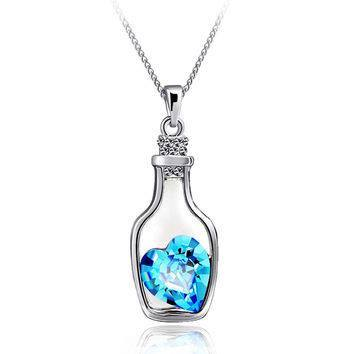 CRYSTAL NECKLACE NEW BLUE(BOTOL)
