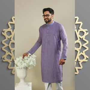 Men's Semi Long Panjabi - 25 - Purple Ash