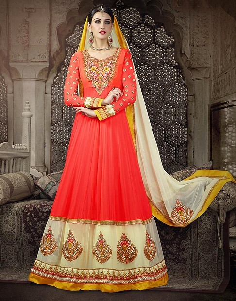 Embroidery Jacquard Orange Georgette Salwar Kameez