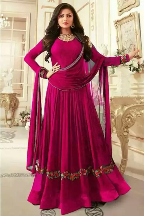 Dark Magenta un-stitched Georgette embroidery anarkali suit