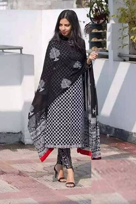 Latest White And Black Block Printed Salwar Kameez for Women-free size