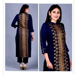 Latest Blue block Printed 2 pieces Salwar Kameez for Women-free size