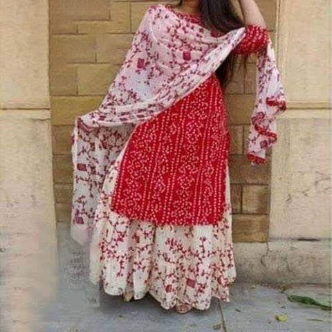 Latest Red Block And White Printed Salwar Kameez For Women-free size