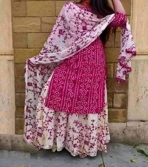 Latest Deep Pink And White Block Printed Salwar Kameez For Women-free size