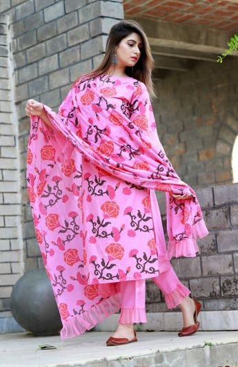 Latest Pink Color Block Printed Salwar Kameez for Women-free size
