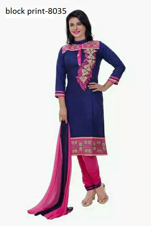 Unstiched block printed cotton replica salwar kameez seblock-8012