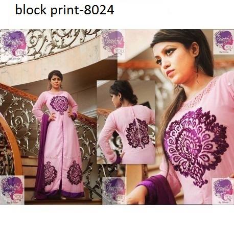 Unstiched block printed cotton replica salwar kameez seblock-8024