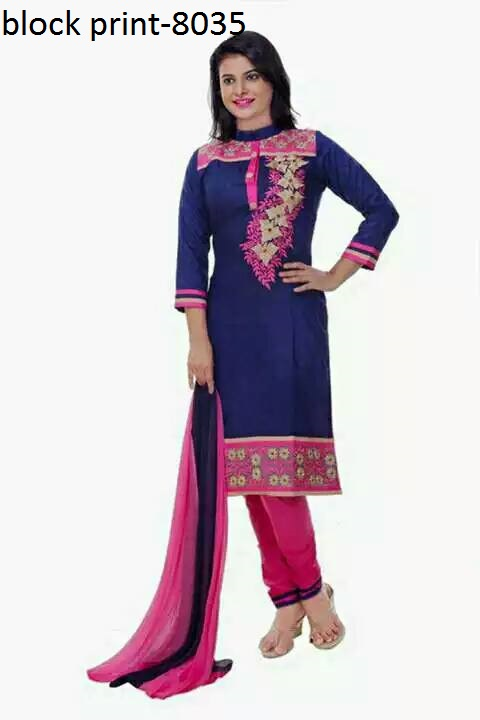 Unstiched block printed cotton replica salwar kameez seblock-8035