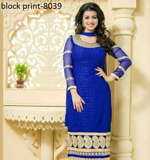 Unstiched block printed cotton replica salwar kameez seblock-8039