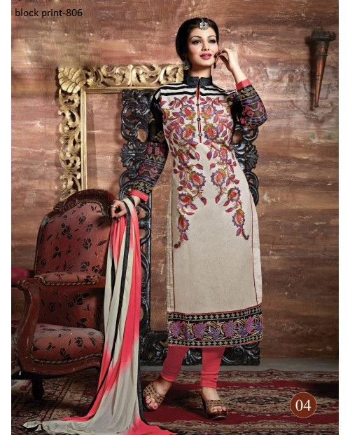 Unstiched block printed cotton replica salwar kameez seblock-806