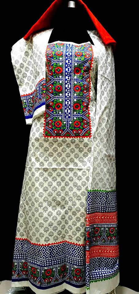 unstiched block printed cotton replica three pcs salwar kameez seblock-502