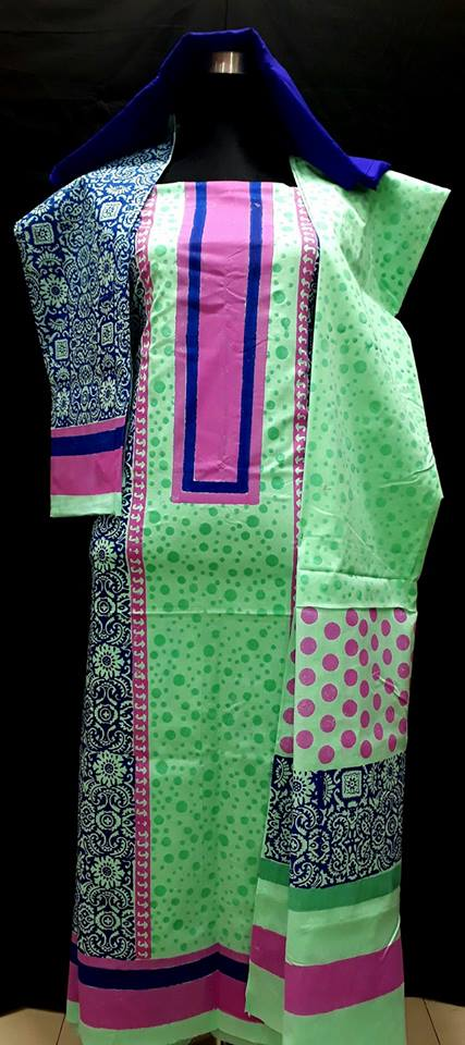 unstiched block printed cotton replica three pcs salwar kameez seblock-503
