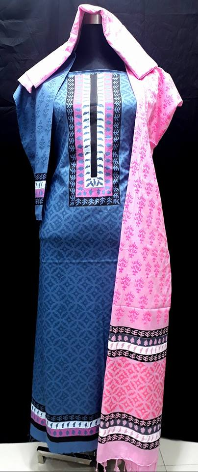 unstiched block printed cotton replica three pcs salwar kameez seblock-505