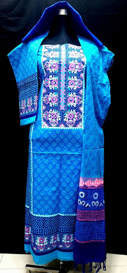 unstiched block printed cotton replica three pcs salwar kameez seblock-506