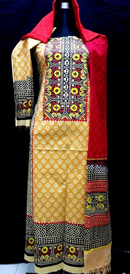 unstiched block printed cotton replica three pcs salwar kameez seblock-507