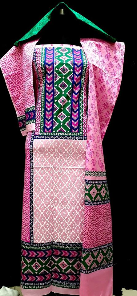 unstiched block printed cotton replica three pcs salwar kameez seblock-508