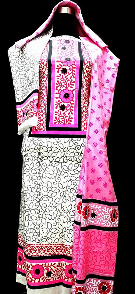 unstiched block printed cotton replica three pcs salwar kameez seblock-509