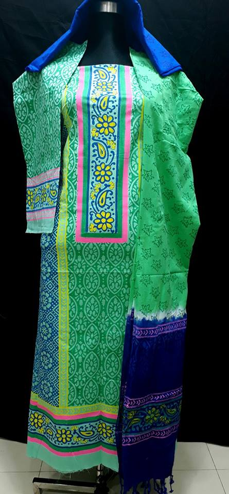 unstiched block printed cotton replica three pcs salwar kameez seblock-517