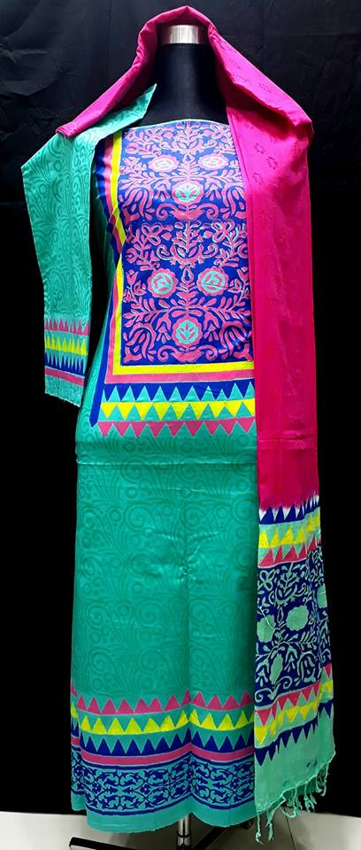 unstiched block printed cotton replica three pcs salwar kameez seblock-518