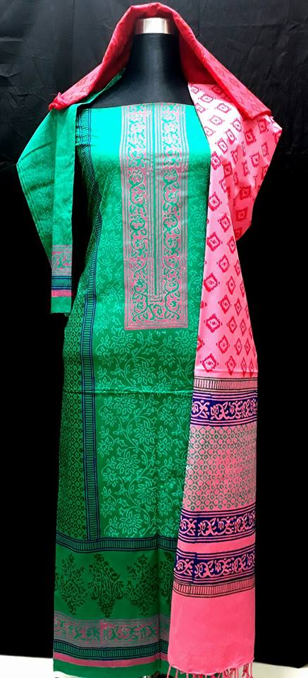 unstiched block printed cotton replica three pcs salwar kameez seblock-519