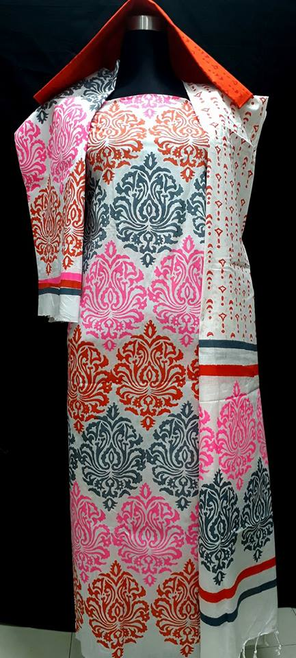 unstiched block printed cotton replica three pcs salwar kameez seblock-521