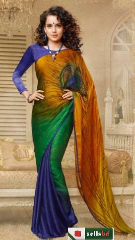 Kangana Ranaut Multi-Coloured Printed Pure Georgette Indian Designer Saree Sharee Sari