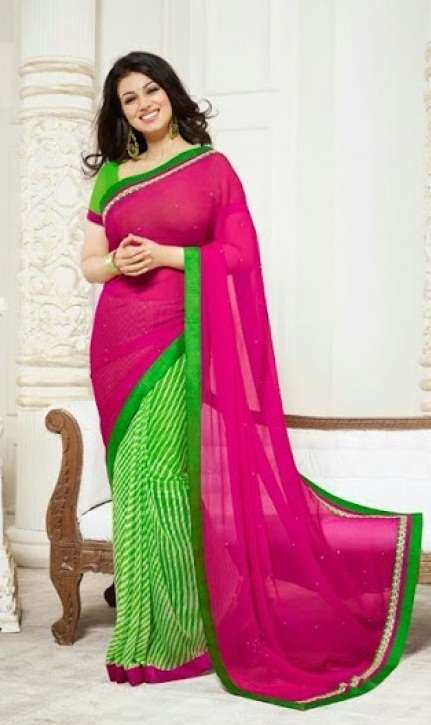 Exclusive Ayesha Takia series Magenta and Green Colour Combination With Green Border Elegant Saree