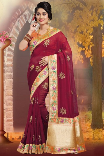 Multi color Embroidery Work Katan Saree For Women