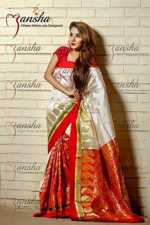 Madrazi White and Red Katan Baishakhi Saree