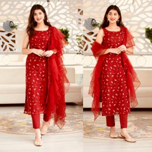 Semi-stiched Georgette Embroidery Work Free Size Salwar kameez - Party Suits for Women