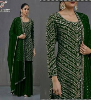 Georgette Embroidery Sharara Suit In green Colour